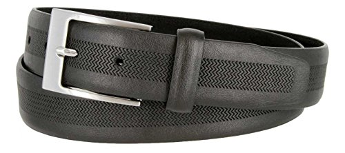 LA1130 1-1/4 (32mm) Wide Herringbone Embossed Leather Casual Dress Belt for Men