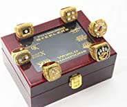 Pittsburgh 6 time Steelers Superbowl Champions Rings Set with Box Christmas Ornaments Gifts for Men Women Kids