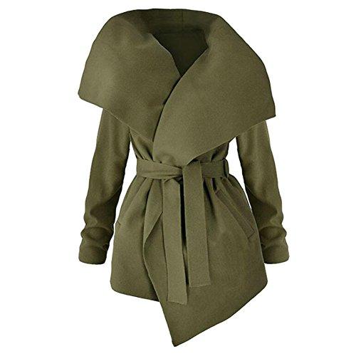 Cintura Inverno Green Cappotti Maniche Trench Da Juleya Donna Lunghe tqvXxOwp