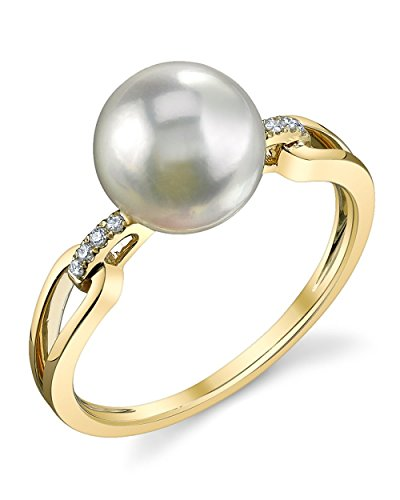 8.5-9.0mm Akoya Cultured Pearl & Diamond Holly Ring in 14K ()