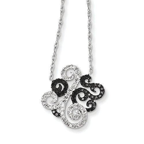 Or blanc 14 carats avec diamant noir et blanc-Pendentif JewelryWeb