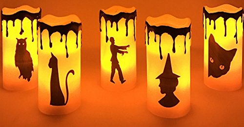 Halloween Led Flicker Wax Candles (5) Witch Black Cat Zombie Owl Bastet B/O New]()