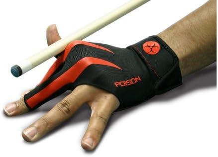 Poison Handschuh, 3-Finger, schwarz-rot, S&M