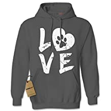 Expression Tees I Love My Dog Paw Print Unisex Adult Hoodie
