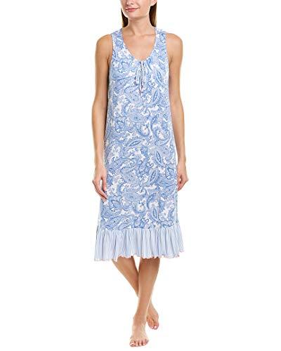 ELLEN TRACY Sail Away Midi Gown with Shelf Bra (8221348) L/Blue Paisley