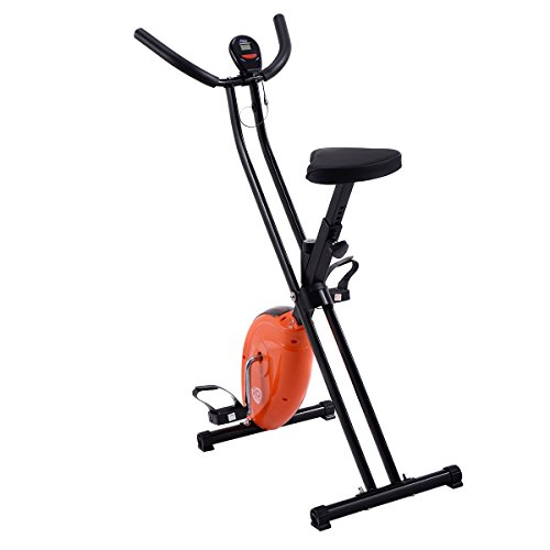 Goplus Folding Exercise Bike Cardio Workout Upright Cycling Magnetic Fitness Stationary (Orange)