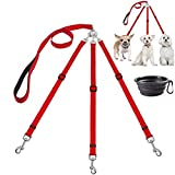 MoSANY 3 Way Dog Leash + a Collapsible Travel Bowl, Nylon Adjustable Coupler No Tangle Detachable 3 in 1 Multiple Dog Pet Cat Puppy Leash with Soft Padded Handle (Red)
