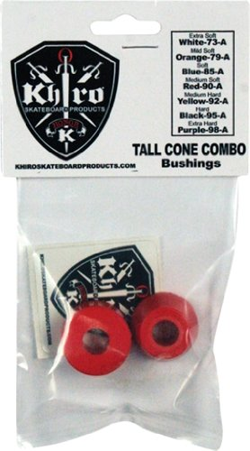 Khiro Skateboard Truck (Khiro T-cone/L-barrel Set 90A Med-soft Red Skateboard Bushings)