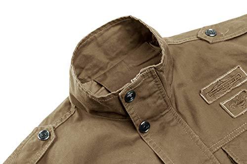 Slim Fit Cachi Tattica Maniche Kefitevd Elegante Lunghe Uomo Multitasche Militare A Giacca Vintage Mimetica 6AwXIU
