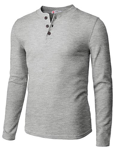 H2H Mens Casual Henley Long Sleeve Waffle Cotton T-Shirts Gray US 2XL/Asia 3XL (CMTTL0104)