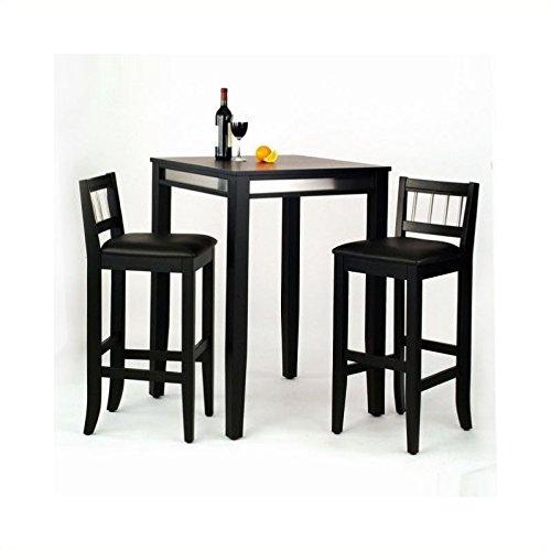 Black Finish 3 Piece - Home Styles 5123-358 3-Piece Manhattan Pub Table and Stools Set, Black Finish