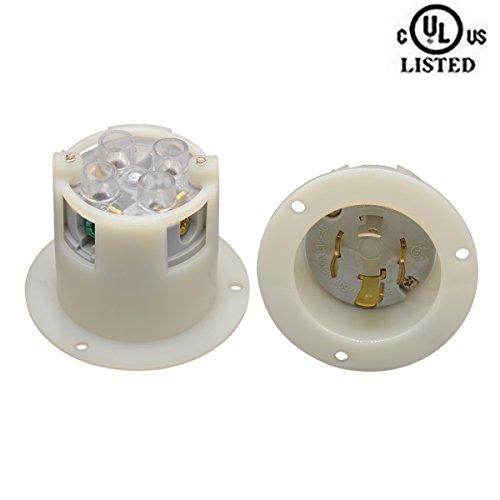 YuaDon NEMA L14-30 30 amp,125/250V, Twist Lock, Electrical Flanged Power Inlet,3 Poles,4 Wire from YuaDon