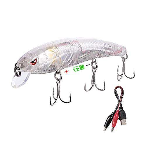 TRUSCEND Bass and Trout Fishing Lures,Twitching Lures Rechargeable LED Slowing Sinking Baits with Mustad Hooks Freshwater and Saltwater,Minnow Jerkbait Crankbait
