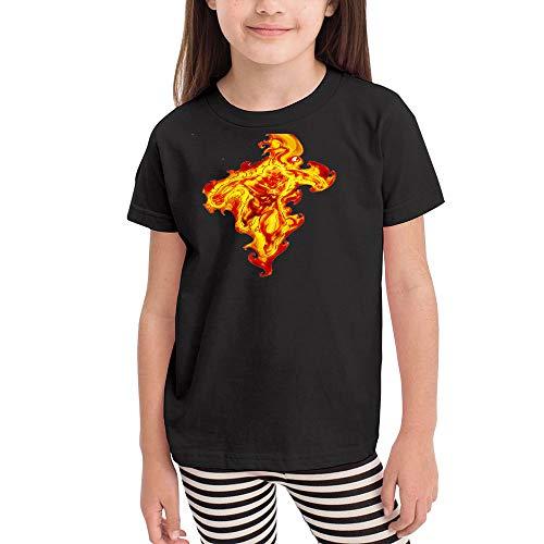 WodCht Girl Short Sleeve Graphic T-Shirt Human-Torch 5T/6T Black -