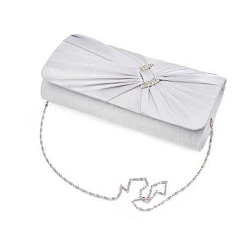 Pleated Rhinestone Colors Bag Clutch Handbag Diff Premium Oval Silver Satin Evening EZP11q