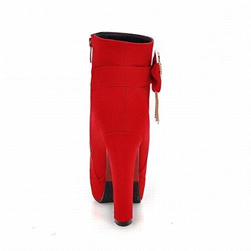 Carolbar Vrouwen Plus Size Zip Steentjes Bogen Platform Hoge Hak Korte Laarzen Rood
