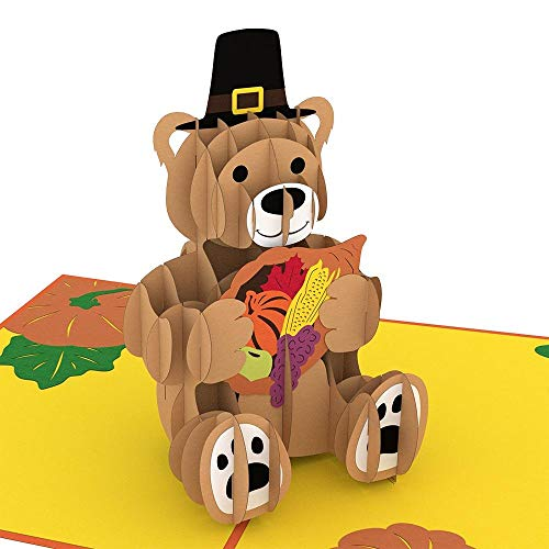 Lovepop Thanksgiving Pilgrim Bear 3-D Pop-Up Greeting Card