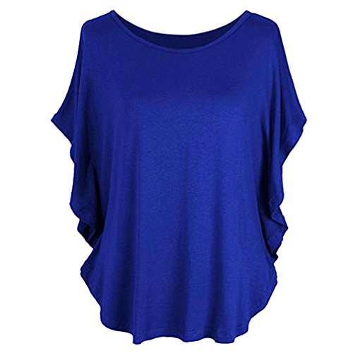 Causel T-Shirt Plus Size Tops Tunic,Women Loose T-Shirt Solid Short Sleeve Tops Deep V Neck Blouse [Clearance] (S-Blue, XXL)