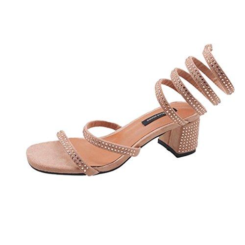 SANFASHION Sandales Femmes Sexy Strass Solide Couleur Crâne Carré Talon Carré Rome Chaussures Mode Été Bohème 34-38 A-rose GqF2xqkIq