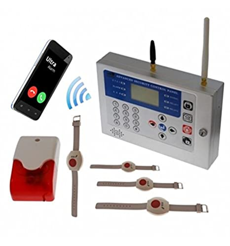 H/D KP GSM Wireless Panic Alarm with 4 x Wristband Panic Buttons ...