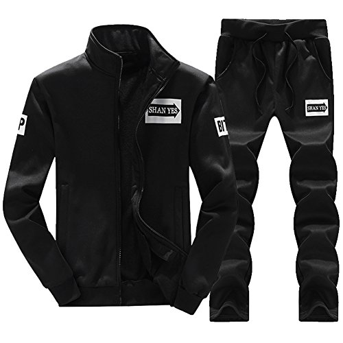 - MACHLAB Men's Athletic Tracksuit Full Zip Warm Sports Sets Jogging Sweat Suits Black S