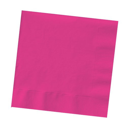 Magenta Beverage Napkins - 50-Count Touch of Color 3-Ply Paper Beverage Napkins, Hot Magenta