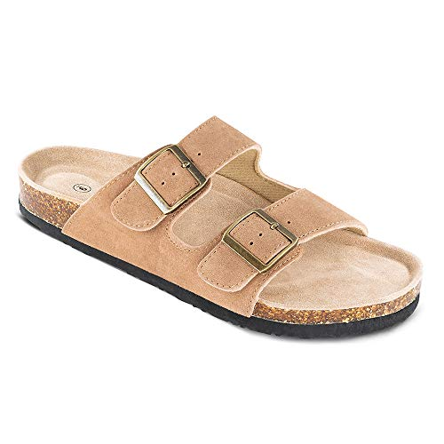 TF STAR Men's Arizona Cow Suede Leather Slide Sandals,2-Strap Adjustable Buckle,Casual Slippers, Slide Cork Footbed Shoes Tan