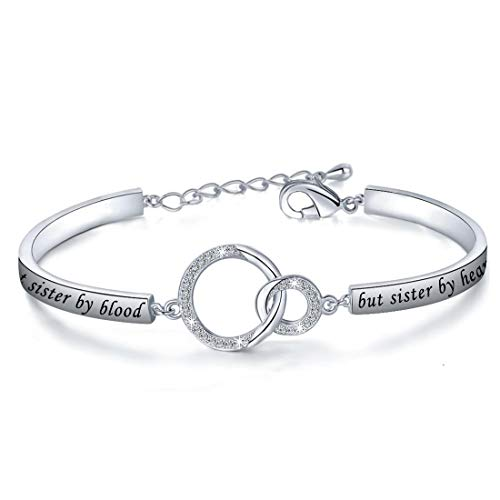 Gift for Best Friend Friendship Bracelet Not Sister by Blood But Sister by Heart Jewelry Friend Sister Bangle (Bracelet)