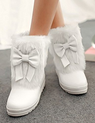 Aisun Womens Warm Comfy Cute Round Toe Thick Sole Dress Platform Slip On Flat Ankle Snow Boots Booties Shoes With Bows White zUYQU1U5lr