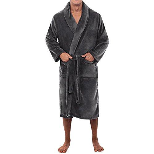 WEEN CHARM Ultra Soft Plush Robe For Men With Shawl Collar,Dark Grey,X-Large - Charm In Ultra Bathroom