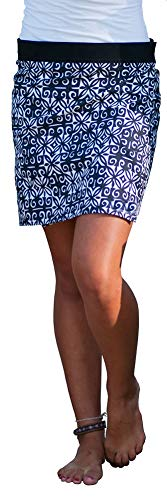 (RipSkirt Hawaii - Length 1 - Quick Wrap Athletic Cover-up that Multitasks as the Perfect Travel/Summer Skirt , Black and White Ulupua , Large / 12-14)