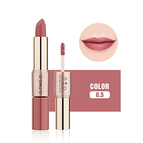 Ourhomer O.Two.O12 Colors Waterproof Long Lasting Women 2 in 1 Velvet Matte Lipstick Lip Gloss Double-End Makeup (E)
