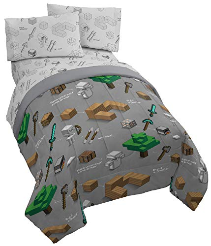 Jay Franco Minecraft Survive 5 Piece Full Bed Set - Includes Reversible Comforter & Sheet Set - Bedding Features Creeper - Super Soft Fade Resistant Polyester - (Official Minecraft Product)