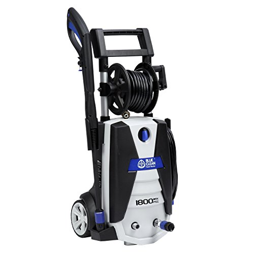 AR Blue Clean AR383S 1,800 PSI Electric Pressure Washer, Spray Gun, 2 Different Wands, Detergent Tank & Hose (Power Mower Reel)