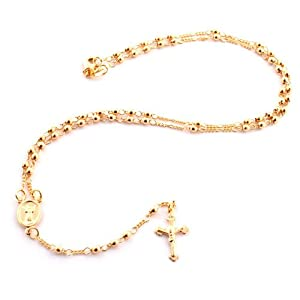 Two Year Warranty Gold Overlay Rosary Jesus On The Cross Pendant & Open Arms Charm 18 Inch Necklace(T 75)