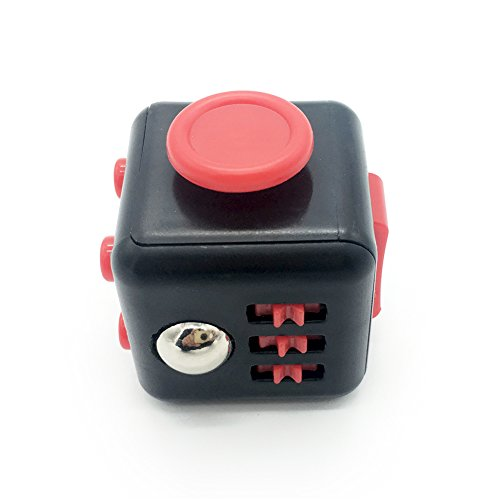 Maggift Fidget Cube Dice toy Stress Cube relieve Anxiety (Black-red) -