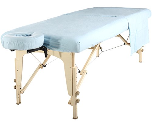 Mt Universal Massage Table Flannel Sheet Set 3 in 1 Table Cover, Face Cushion Cover, Table Sheet, Sky Blue
