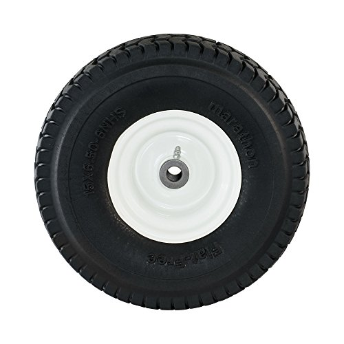 "Marathon 15×6.50-6"" Flat Free Tire on Wheel, 3"" Hub, 3/4"" Bushings"