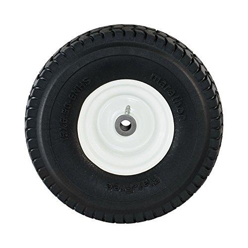 """Marathon 15×6.50-6"""" Flat Free Tire on Wheel, 3"""" Hub, 3/4"""" Bushings"""
