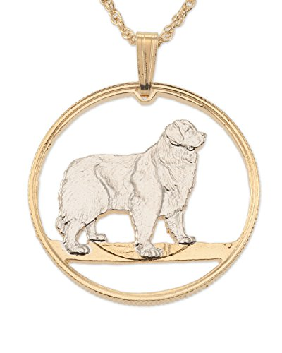 Newfoundland Dog Pendant, Canada Coin Hand Cut, 14 Karat Gold and Rhodium Plated
