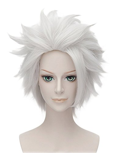 Probeauty Anime Short Cosplay Wig for Hitsugaya Toushirou Bleach (Silvery White)