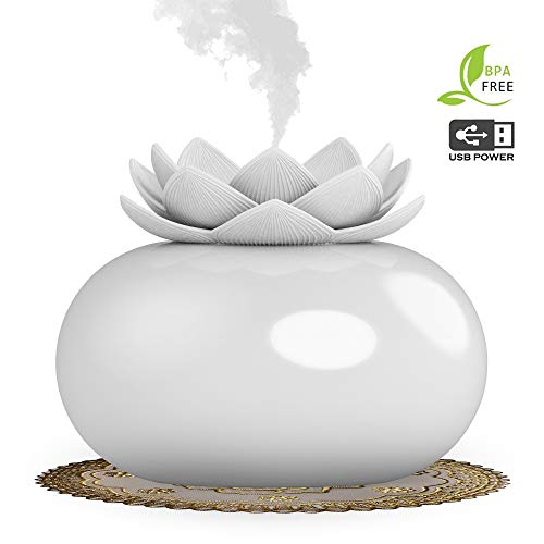 YJY Flower Essential Oil Diffuser Decorative Aromatherapy Diffuser,Cute Lotus Ceramic Humidifier Crafts Ornaments,USB Timer 12 Hours Portable for Home Bedroom Office Yoga SPA(White) ()