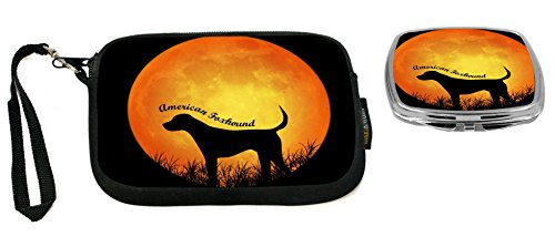 Rikki Knight American Foxhound Dog Silhouette By Moon Design Neoprene Clutch Wristlet with Matching Square Compact (Foxhound Silhouette)