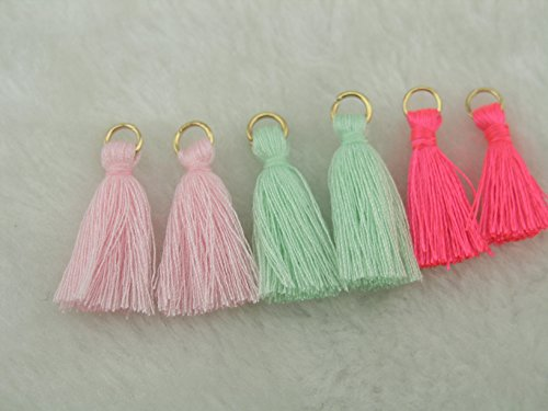 "3 Colors 50Pcs Silky Handmade Tiny(1.4"") Soft Tassels, Mini Tassels, Spring Colors, Colorful Tassels, Earring Tassels"