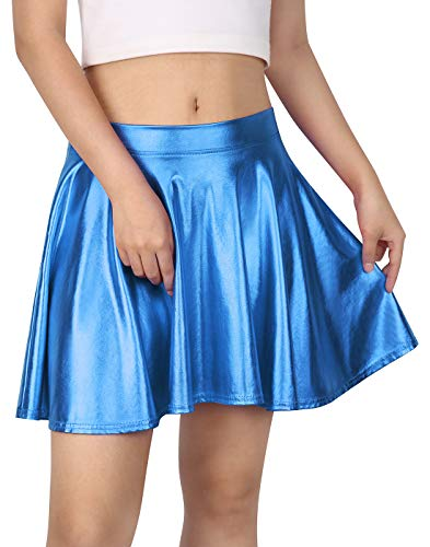 HDE Women's Casual Fashion Flared Pleated A-Line Circle Skater Skirt (Blue, XX-Large) -