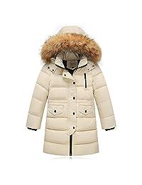 Seeduck Big Girls' Winter Parka Down Coat Puffer Jacket Padded with Fur Hood