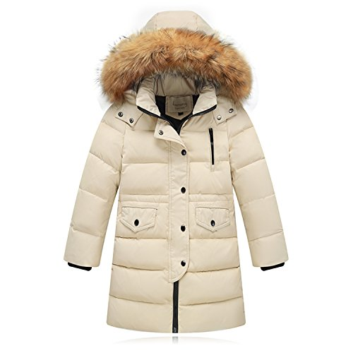 (Seeduck Big Girls' Winter Parka Down Coat Puffer Jacket Padded Overcoat with Fur Hood (2/3T=100CM=40 Inch, Beige))