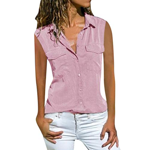 Women's Sexy Tops 2019,Women Casual Solid Sleeveless Turn Down Collar Pockets Button Front Shirt Tops Under 10 Dollars Light Pink