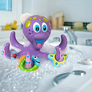 Nuby Floating Purple Octopus with 3 Hoopla