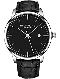 Mens Watch Calfskin Leather Strap - Dress + Casual Design...